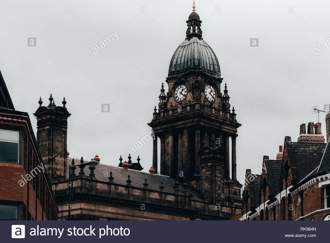 Leeds, united Kingdom - November, 03, 2018: View of leeds town hall clock tower on a cloudy day. - Stock Image