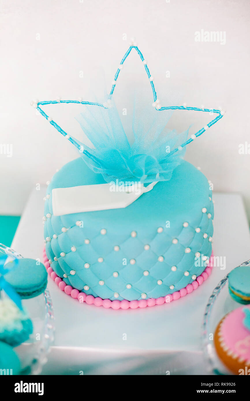 Marvelous Blue And Pink Birthday Cake With Pearls Big Crown For Little Baby Personalised Birthday Cards Arneslily Jamesorg