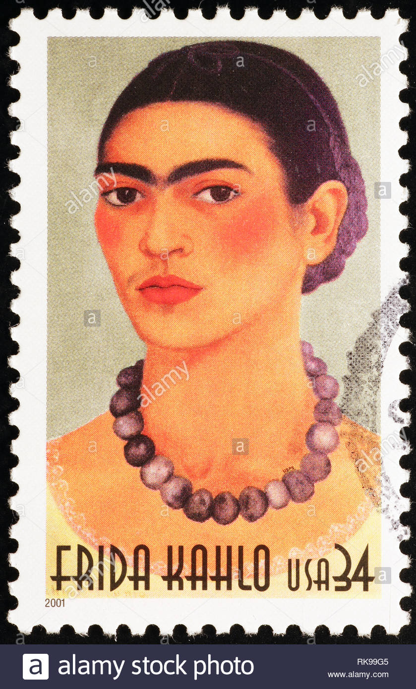 Frida Kahlo selfportrait on american postage stamp - Stock Image