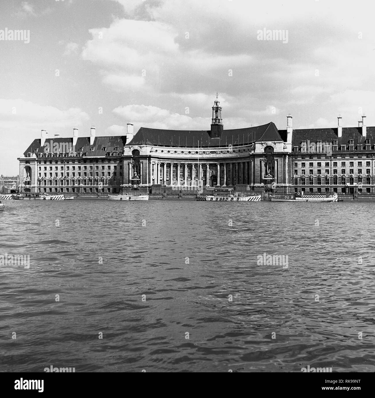 1950s, a view of the grand building of County Hall, home in this era of the Greater London Council ( GLC) on the south bank of the river Thames, London, England, - Stock Image