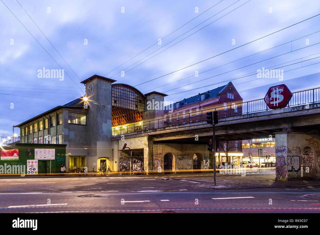 Norrebro Train Station in Copenhagen at night - Stock Image