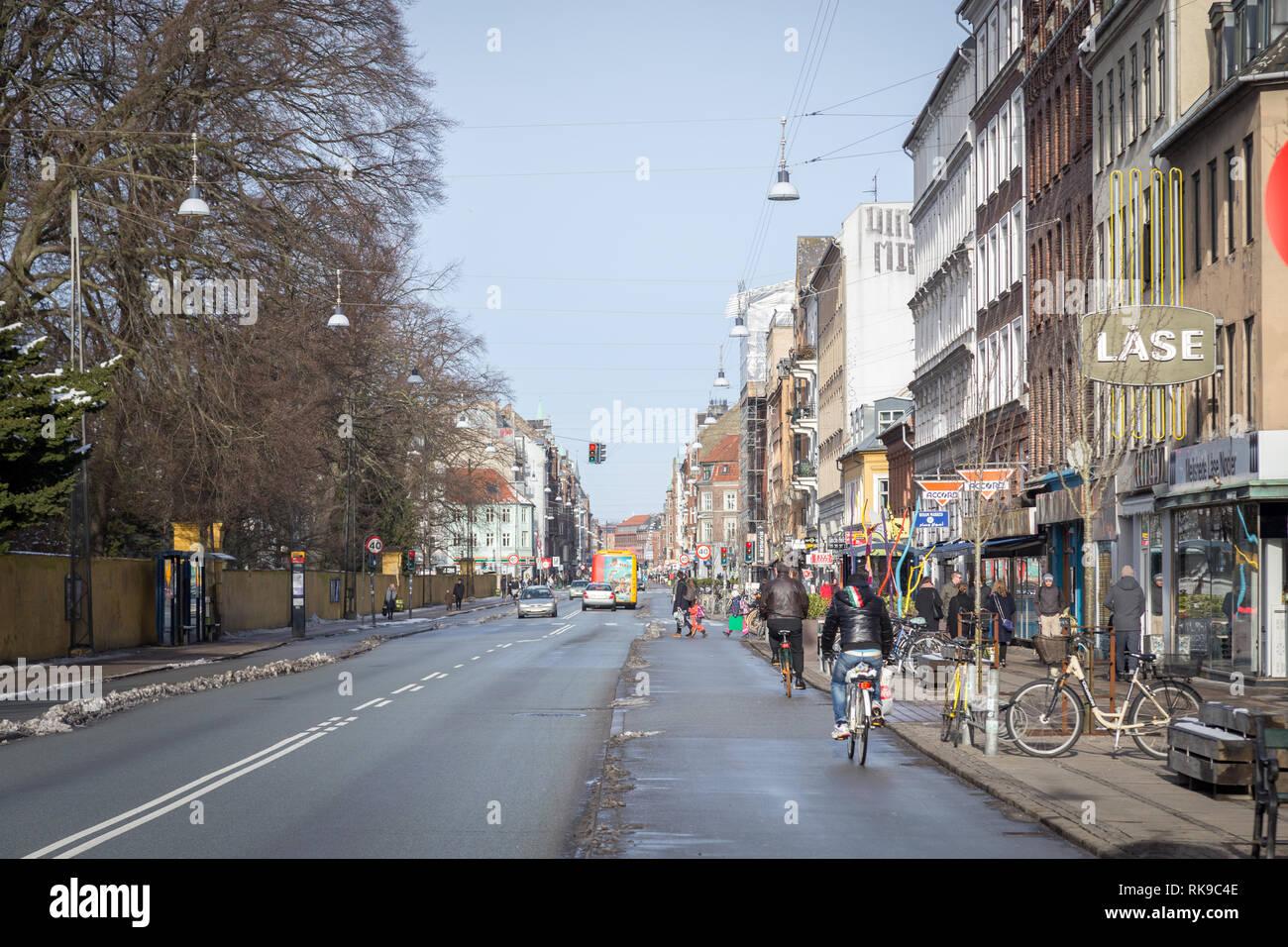 Norrebrogade in Norrebro district in Copenhagen, Denmark - Stock Image