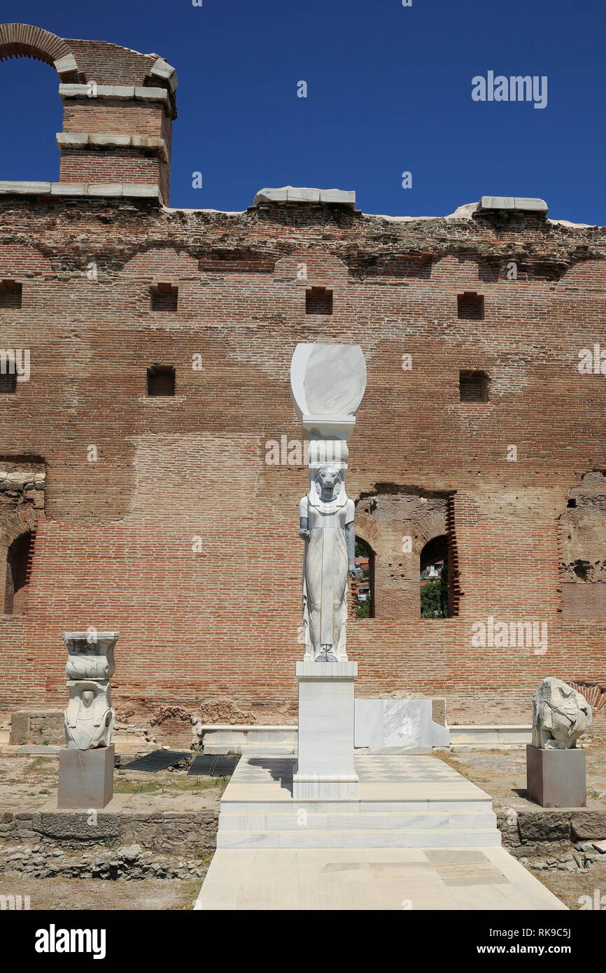 Pergamon, In the courtyard of the Basilica built for the gods of Egypt in the 2nd century AD; Goddess,the statue of the lion-headed Sekhmet. - Stock Image