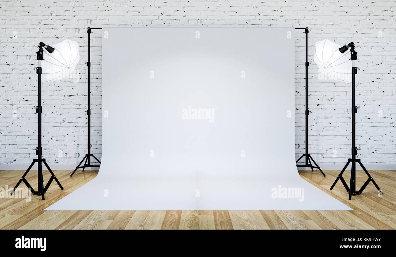 Photo Studio Lighting Set Up With White Backdrop 3d