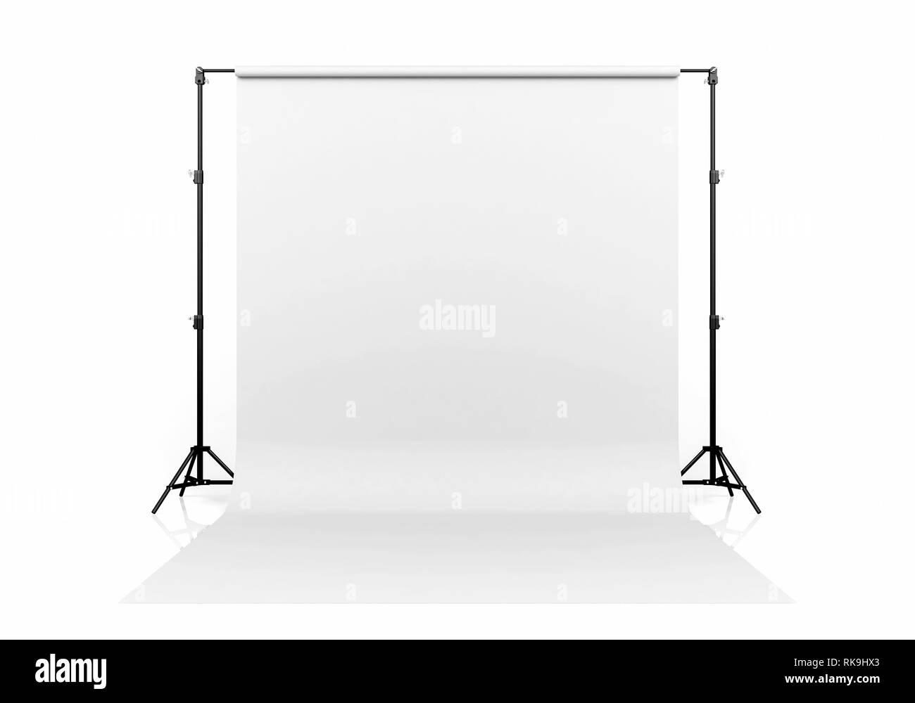 Photo Studio Lighting Set Up With White Backdrop On White