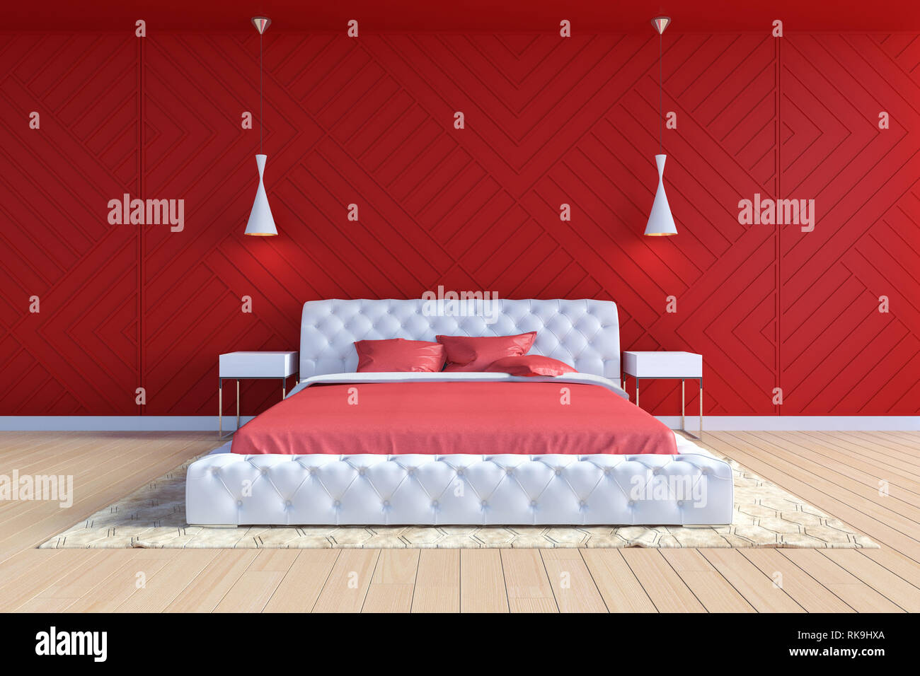 Modern Contemporary Bedroom Interior In Red And White Color 3d Rendering Stock Photo Alamy