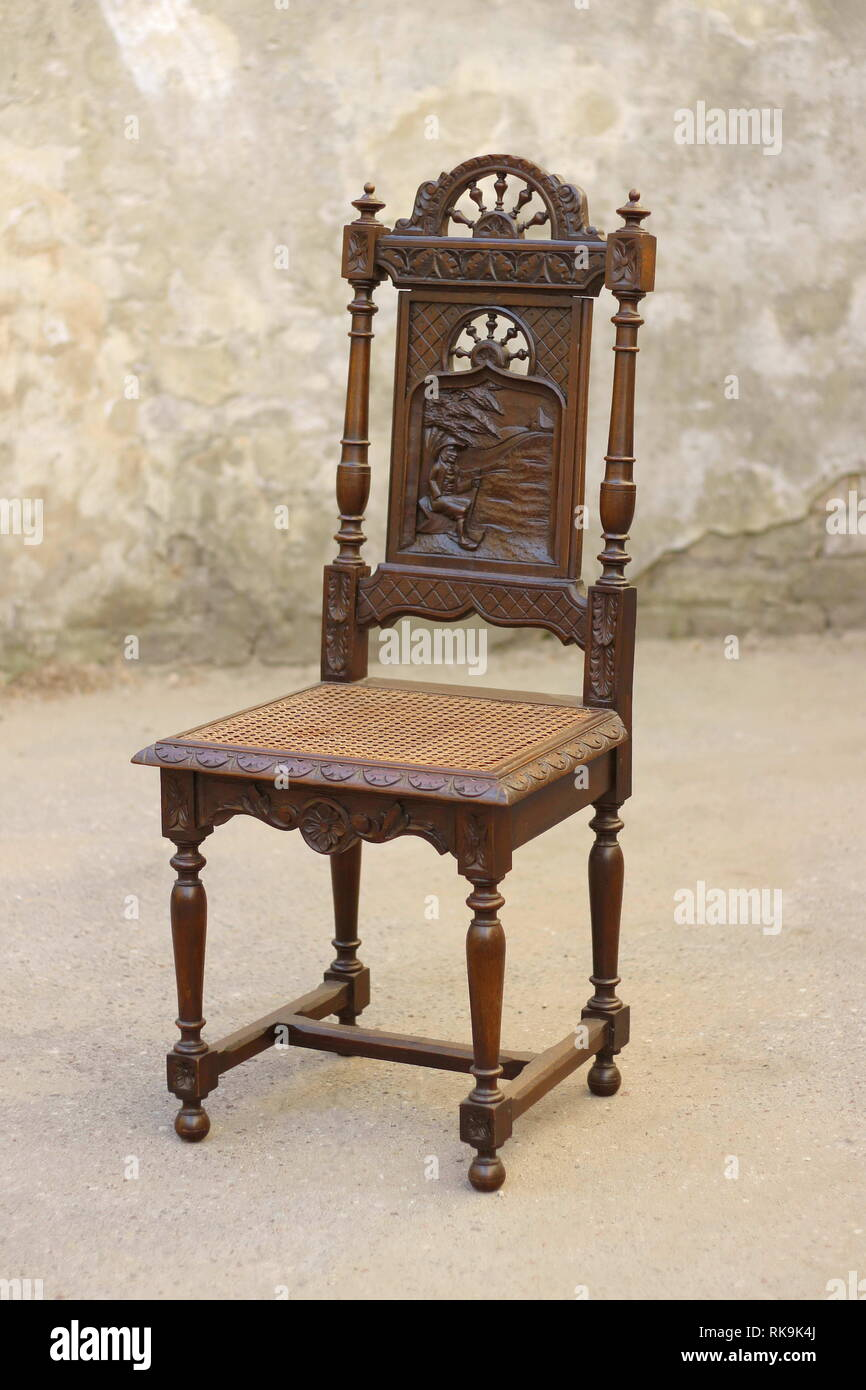 Old classic wooden chair furniture with carving Stock Photo - Alamy