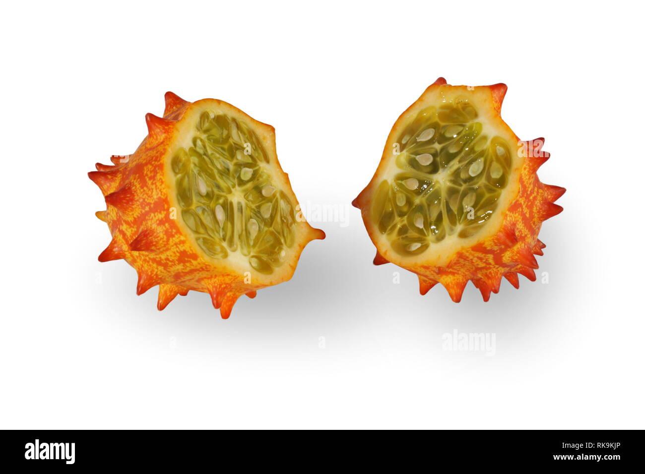 Melano, Kiwano, or Horned Melon Fruit on White Background - Stock Image