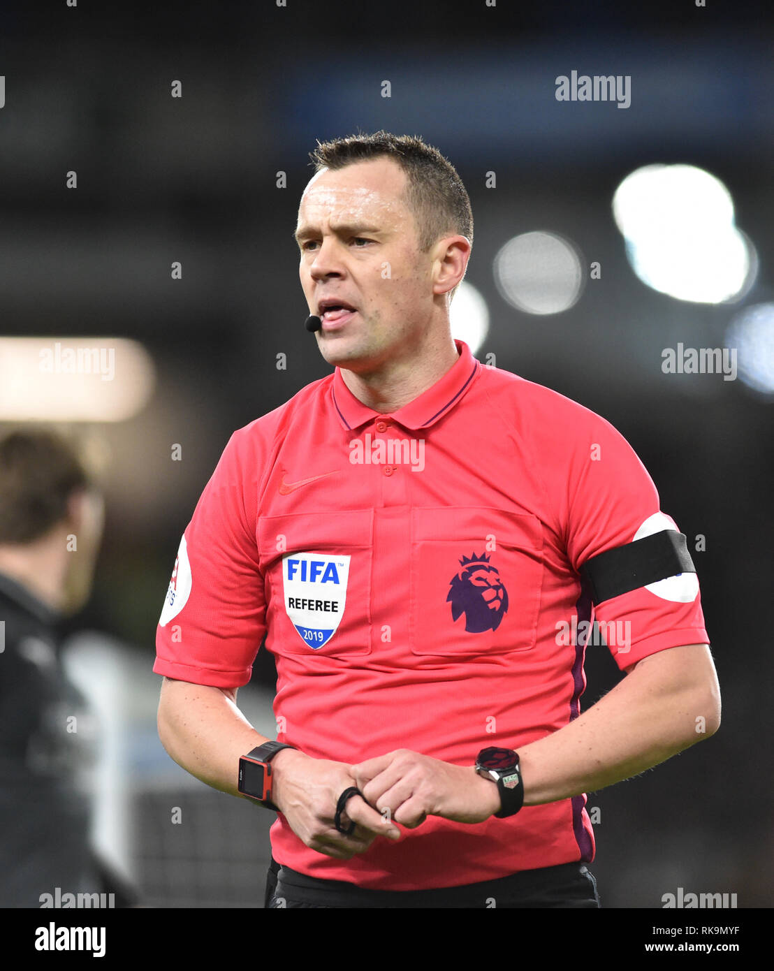 Referee Stuart Attwell during the Premier League match between Brighton & Hove Albion and Burnley at the American Express Community Stadium . 09 February 2019   Editorial use only. No merchandising. For Football images FA and Premier League restrictions apply inc. no internet/mobile usage without FAPL license - for details contact Football Dataco - Stock Image