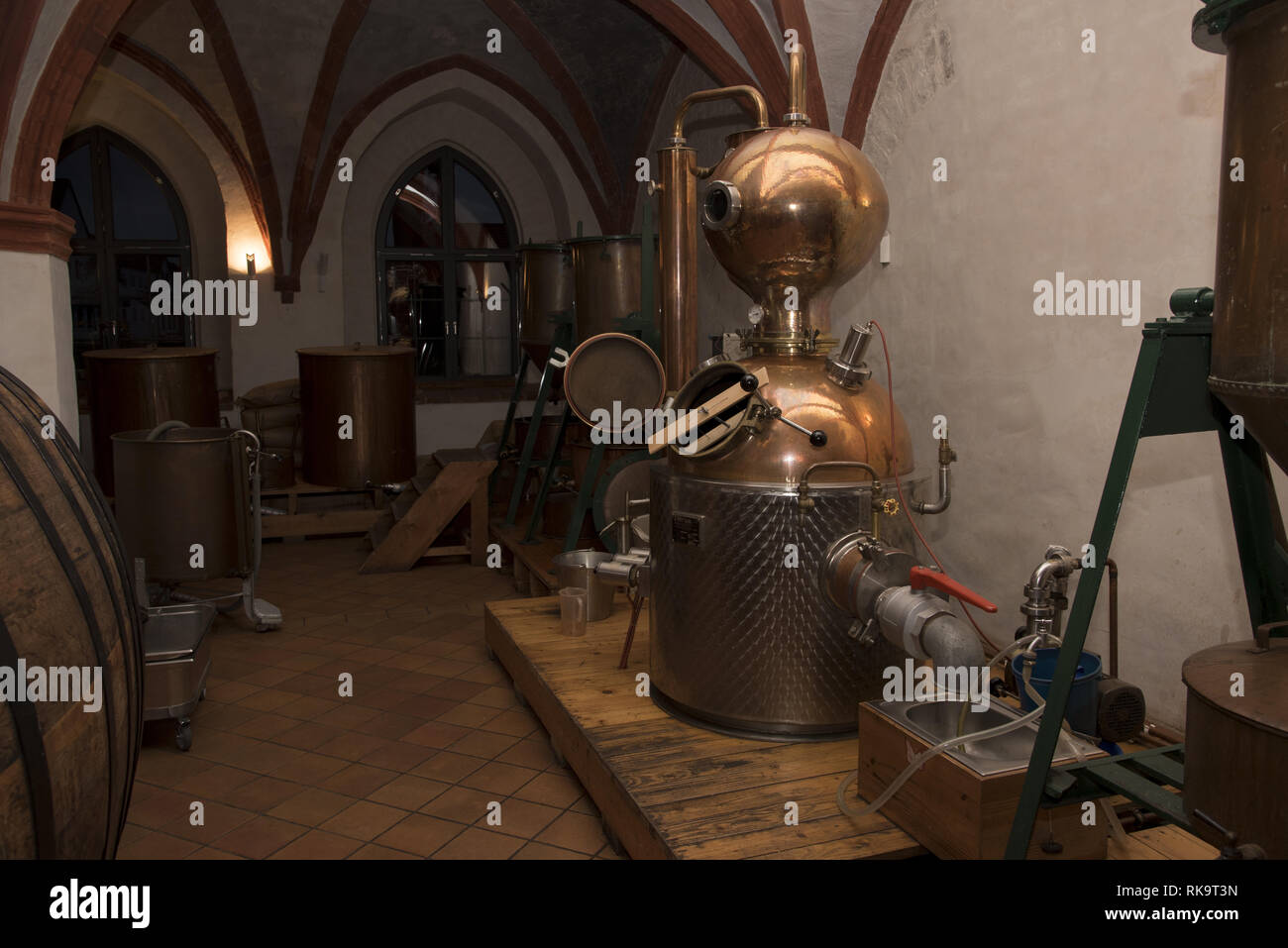 """Sweet herbal liqueur """"Klosterbruder"""" is produced in the old brewhouse of Zinna Abbey a former Cistercian monastery in Jüterbog in Brandenburg, Germany Stock Photo"""