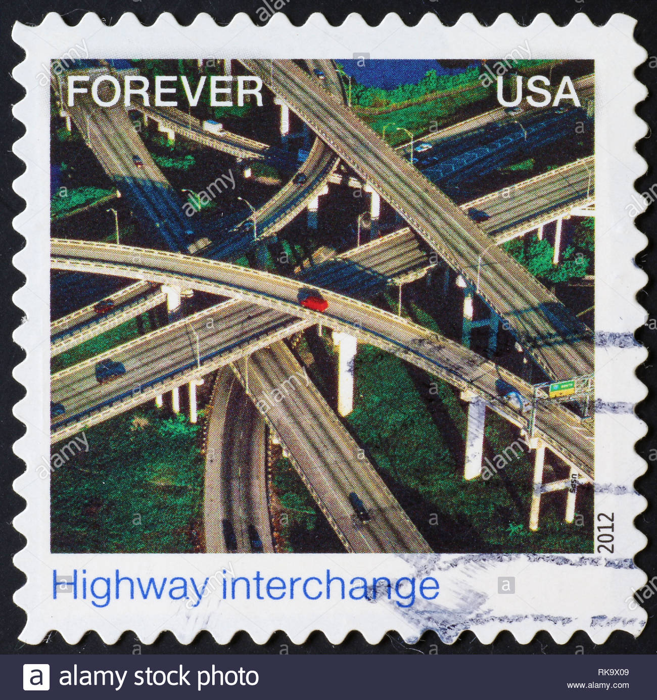 Intersecting highways on american postage stamp - Stock Image