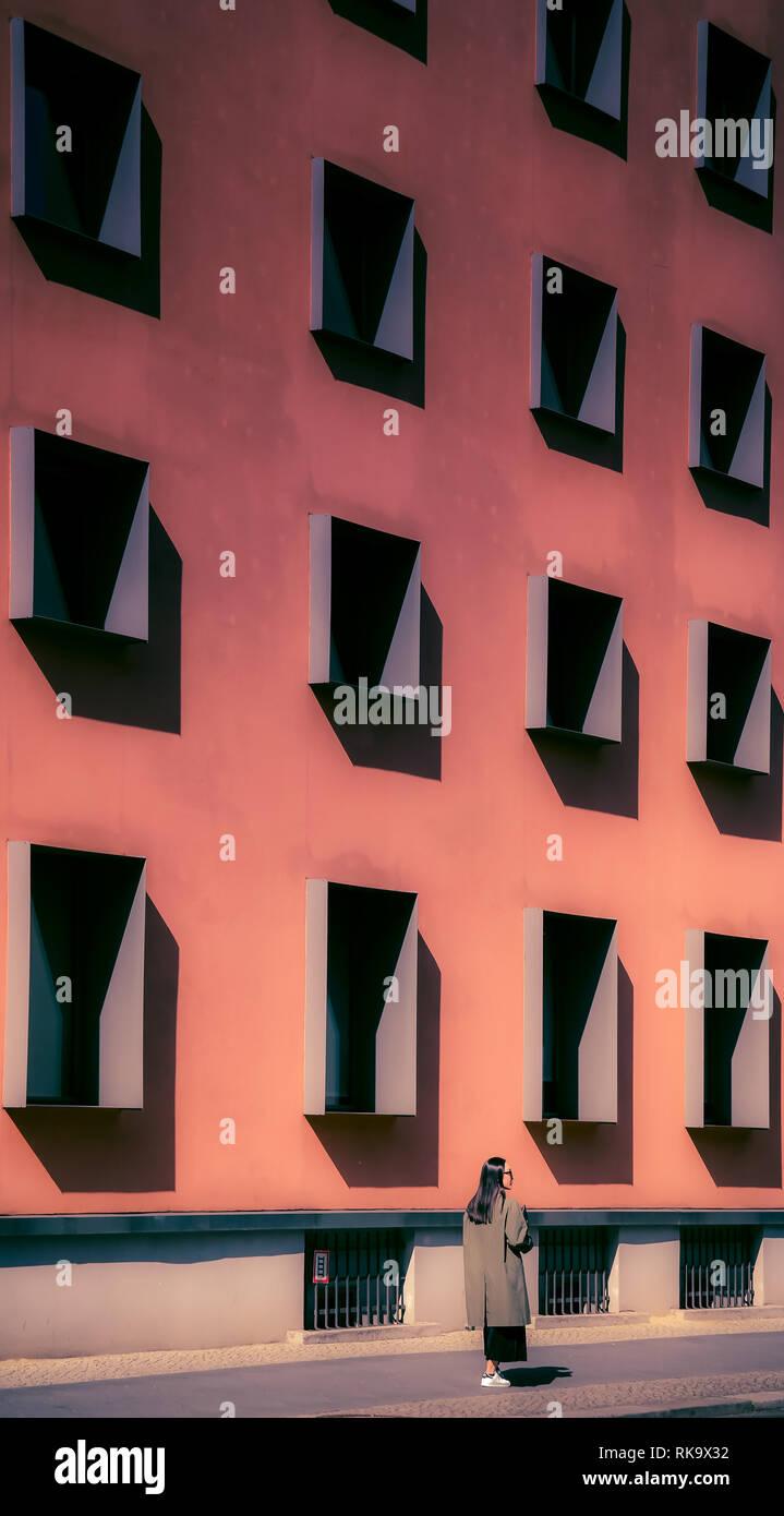 Berlin Mitte Architektur modern orange - Stock Image