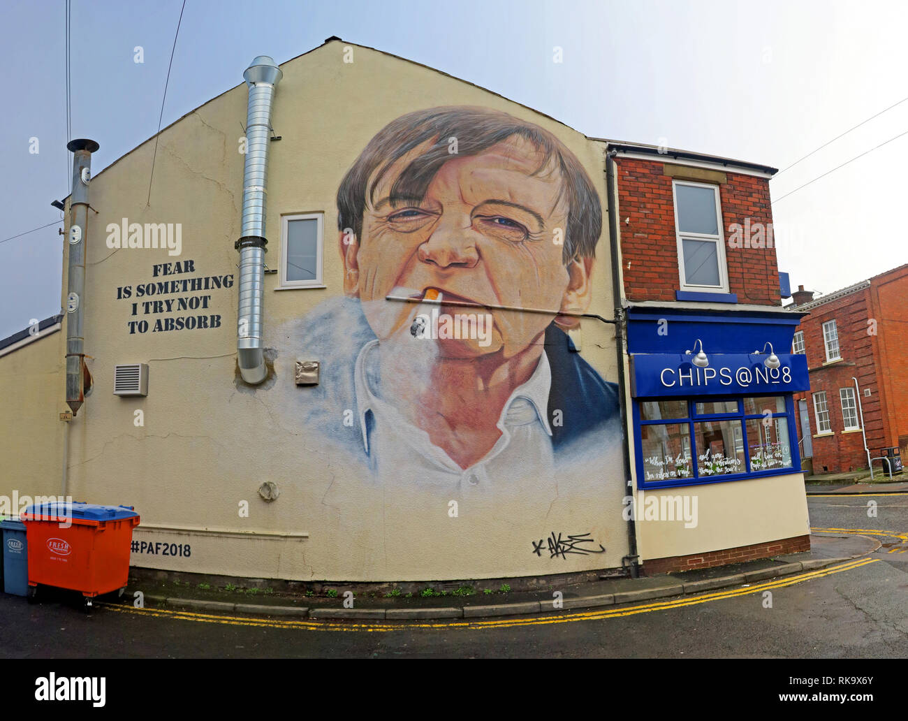 'Fear is something I try not to absorb',Clifton Road, Prestwich, The Fall, Mark E Smith artwork, 8 Clifton Road, Prestwich, Bury M25 3HQ, England - Stock Image
