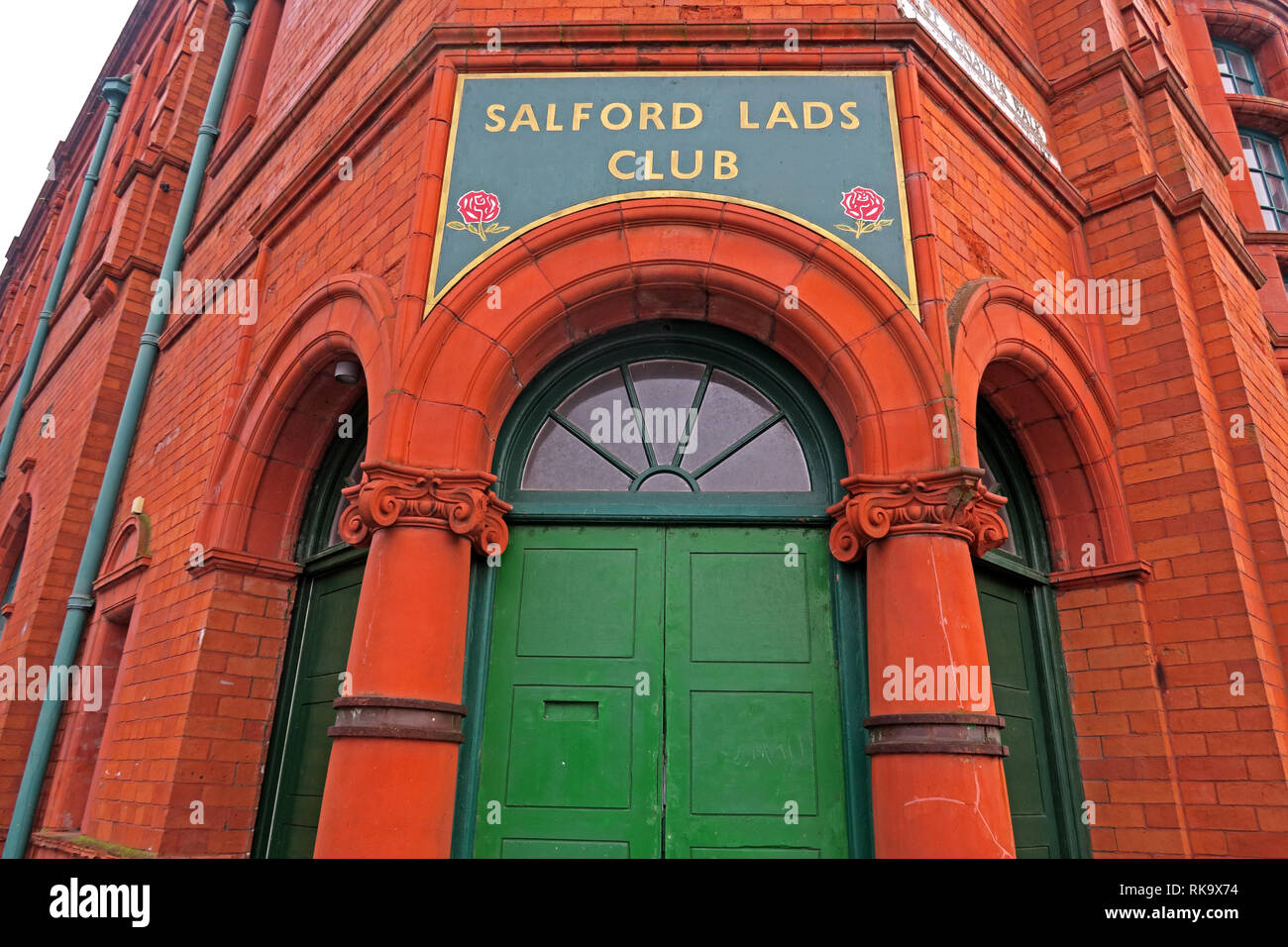 Salford Lads Club doorway, as featured in The Smiths album, The Queen Is Dead, Saint Ignatius Walk, Salford, Lancashire, North West England, UK,M5 3RX - Stock Image