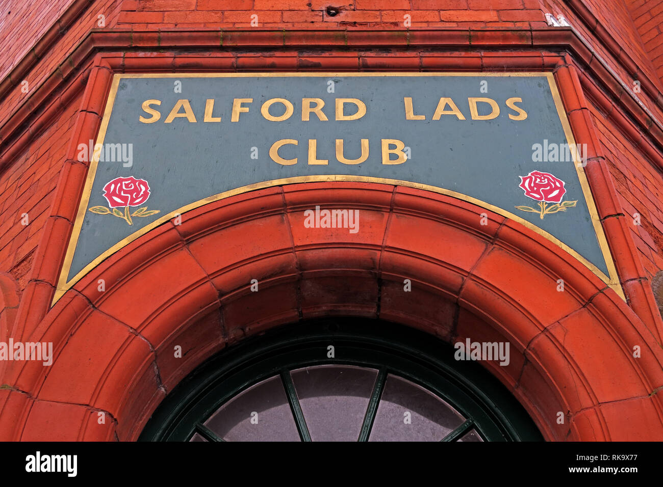 Salford Lads Club doorway, as featured in The Smiths album, The Queen Is Dead, Saint Ignatius Walk, Salford, Lancashire, North West England, UK,M5 3RX Stock Photo