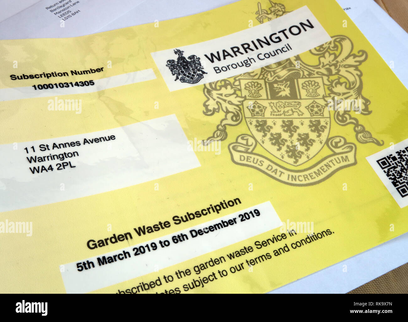 Warrington Borough Council, Garden Waste Subscription, collection of green waste charges, 2019 for Green Bin - Stock Image