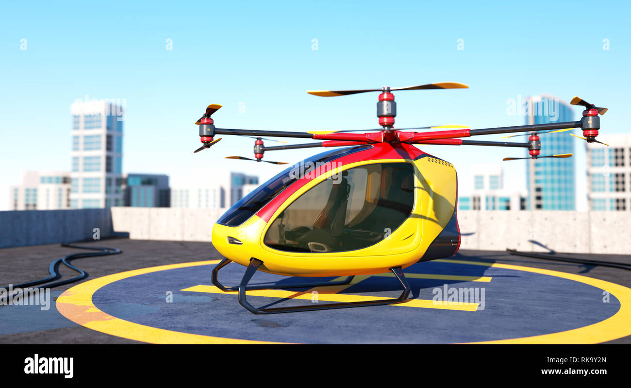 Electric Passenger Drone staying on the top of a building. This is a 3D model and doesn't exist in real life. 3D illustration Stock Photo