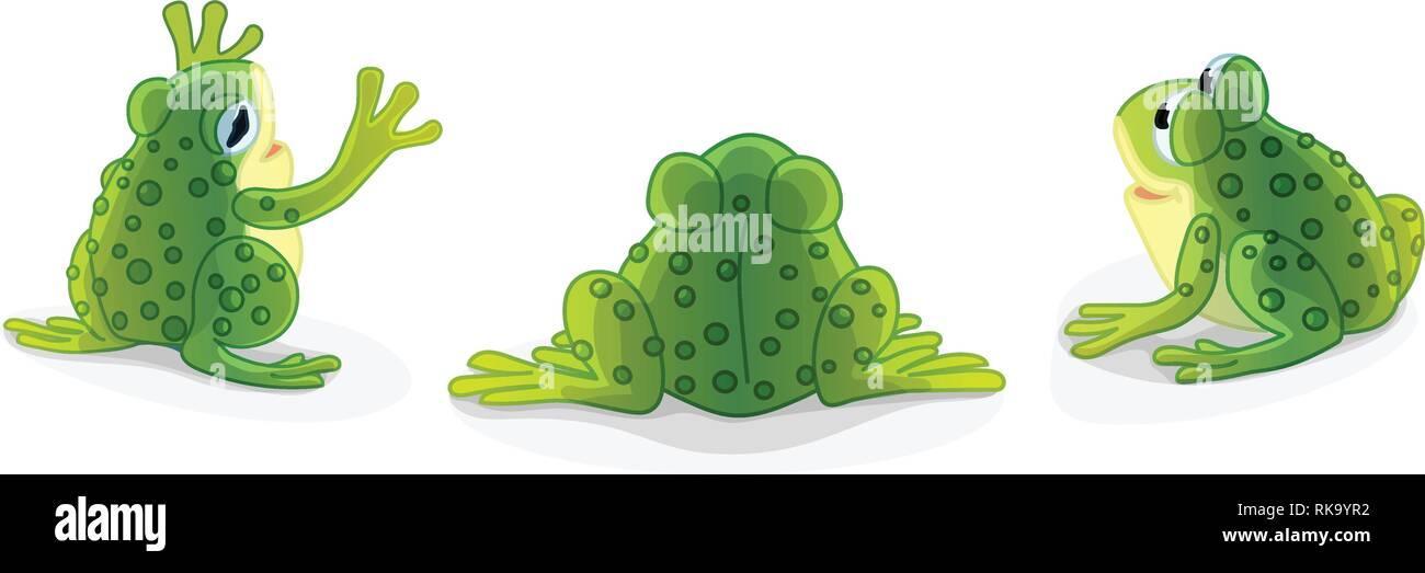 vector cartoon animal clipart: green frog, toads - Stock Vector
