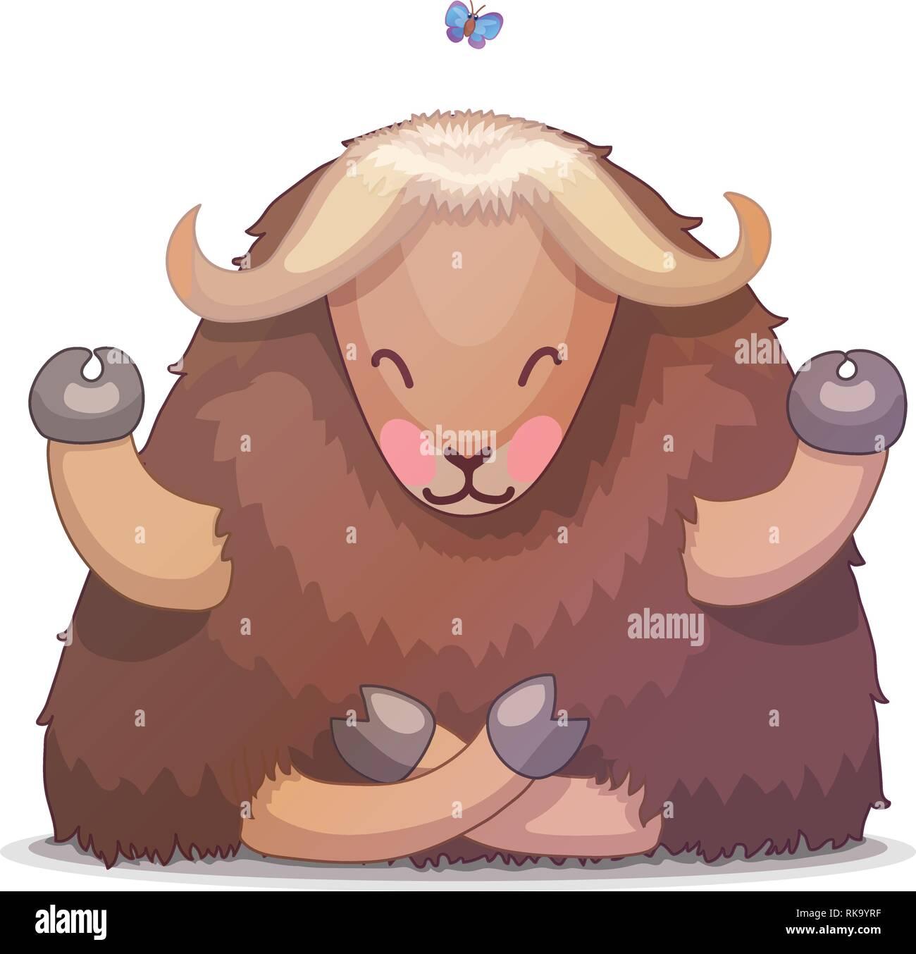 vector cartoon animal clipart: tibetan yak - Stock Vector