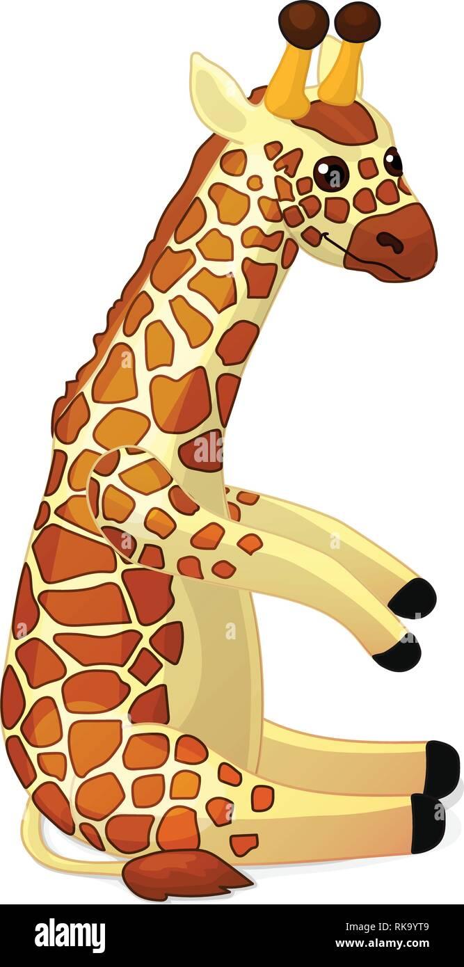 Vector Cartoon Animal Clipart Sitting Cute Giraffe Stock Vector Image Art Alamy
