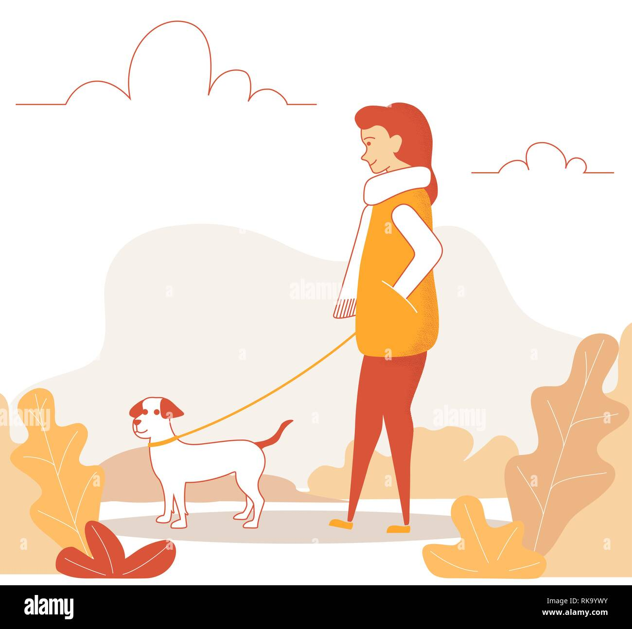 Line art woman character walking with cute dog. Girl walking in autumn park with her dog. Vector illustration in a flat style - Stock Vector