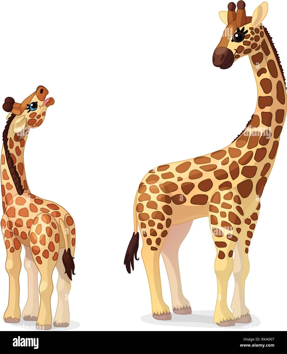 vector cartoon animal clipart: giraffes family Stock ...