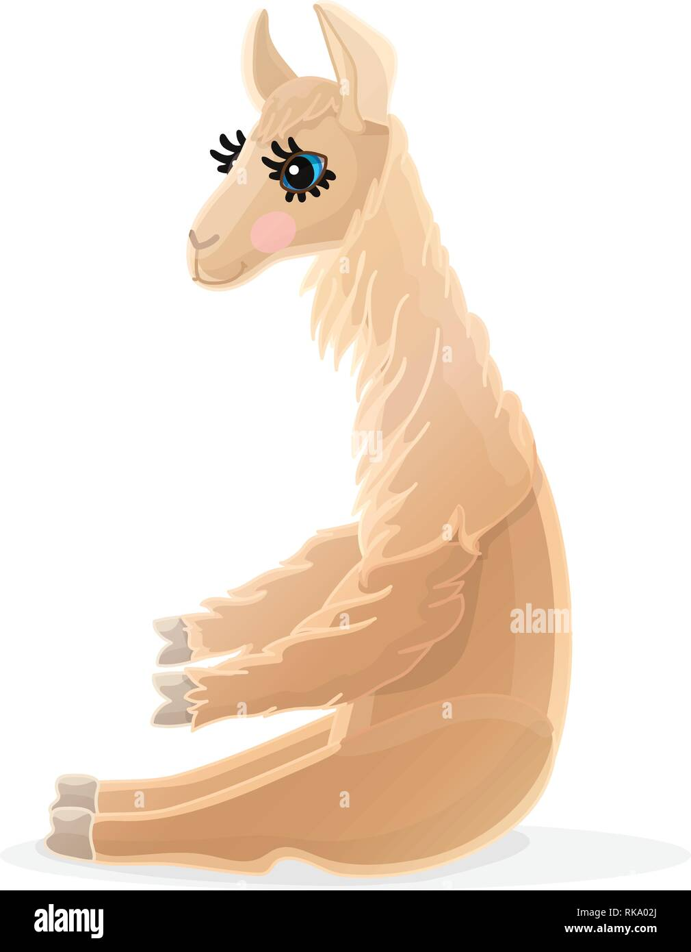 vector cartoon animal clipart: llama - Stock Vector
