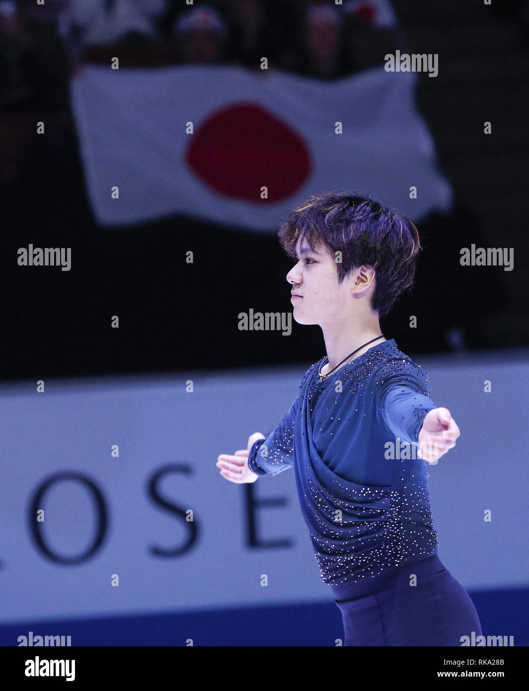 Los Angeles, California, USA. 10th Feb, 2019. Gold medal winner Shoma Uno of Japan poses at the ISU Four Continents Figure Skating Championship at the Honda Center in Anaheim, California on February 9, 2019. Credit: Ringo Chiu/ZUMA Wire/Alamy Live News Stock Photo