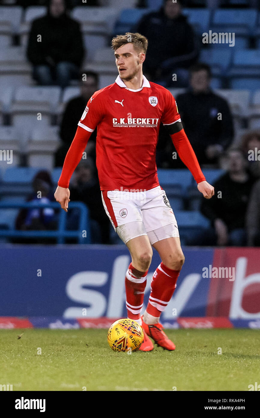 Gillingham, UK. 9th Feb 2019. Liam Lindsay of Barnsley in action during the EFL Sky Bet League 1 match between Gillingham and Barnsley at the MEMS Priestfield Stadium, Gillingham, England on 9 February 2019. Photo by Ken Sparks.  Editorial use only, license required for commercial use. No use in betting, games or a single club/league/player publications. Credit: UK Sports Pics Ltd/Alamy Live News - Stock Image