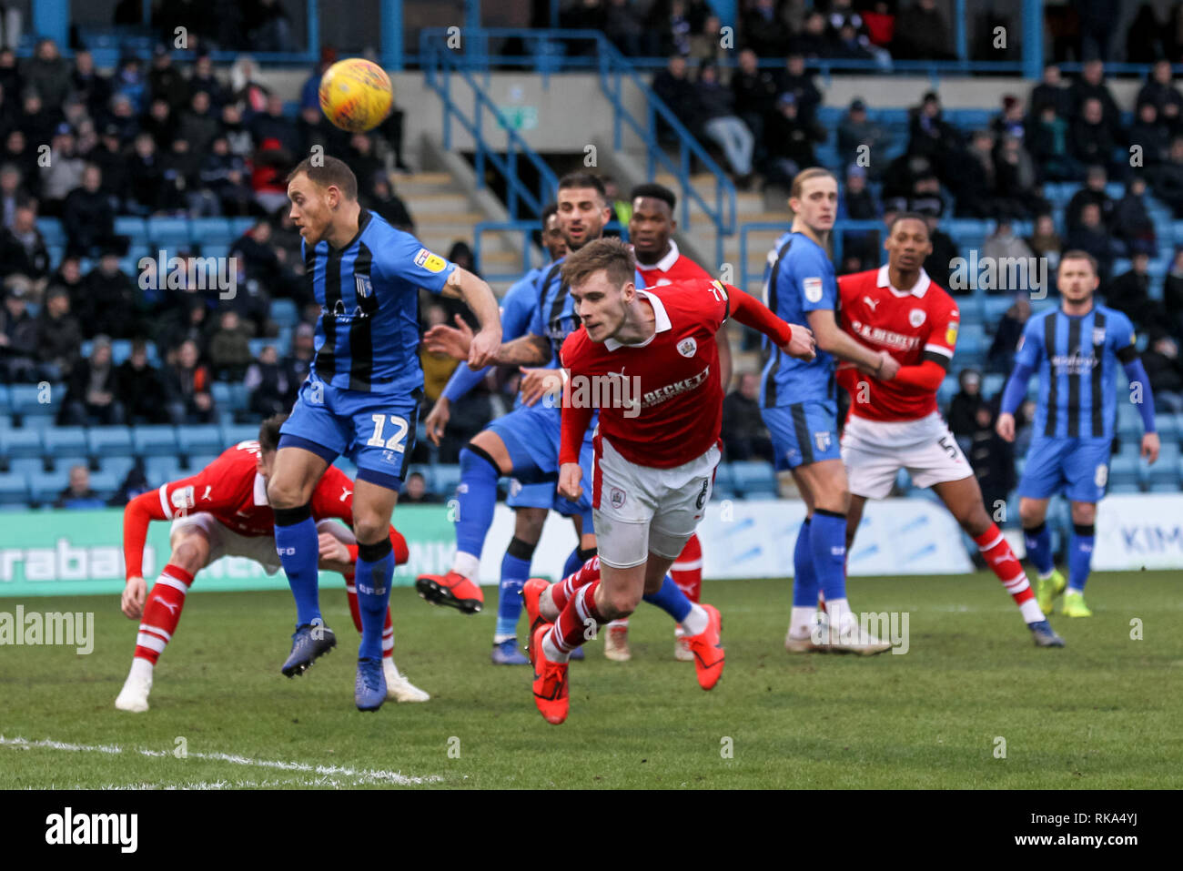 Gillingham, UK. 9th Feb 2019. Liam Lindsay of Barnsley gets his head to a cross during the EFL Sky Bet League 1 match between Gillingham and Barnsley at the MEMS Priestfield Stadium, Gillingham, England on 9 February 2019. Photo by Ken Sparks.  Editorial use only, license required for commercial use. No use in betting, games or a single club/league/player publications. Credit: UK Sports Pics Ltd/Alamy Live News - Stock Image