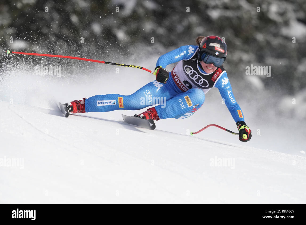 Are, Sweden. 10th Feb, 2019. Alpine skiing, world championship, downhill, ladies: Nicol Delago from Italy on the racetrack. Photo: Michael Kappeler/dpa Credit: dpa picture alliance/Alamy Live News - Stock Image