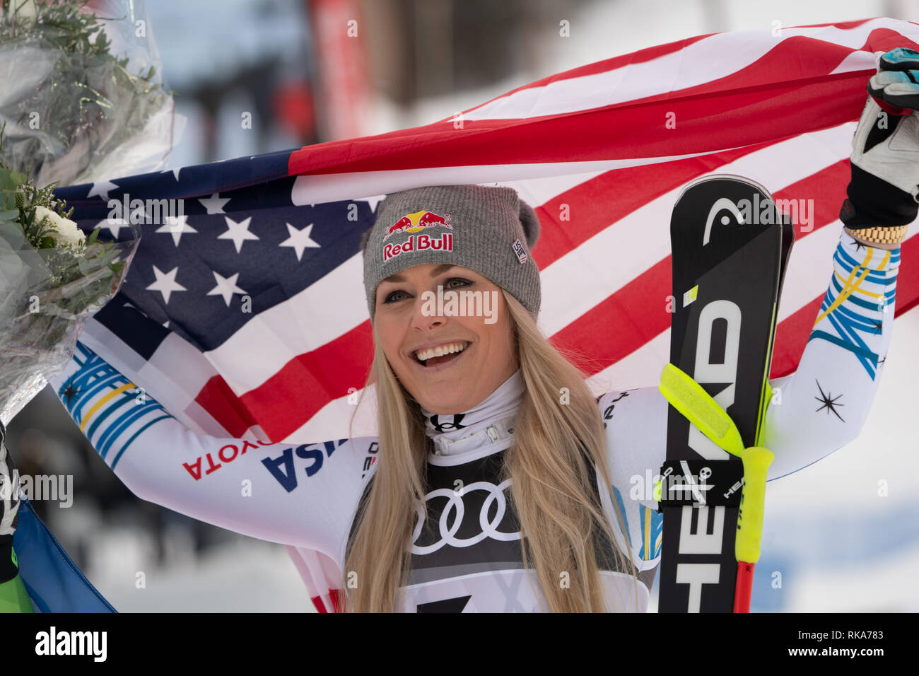 Are, Sweden. 26th Jan, 2017. Alpine skiing, world championship, downhill, ladies: Lindsey Vonn from the USA on the podium. Credit: Michael Kappeler/dpa/Alamy Live News - Stock Image