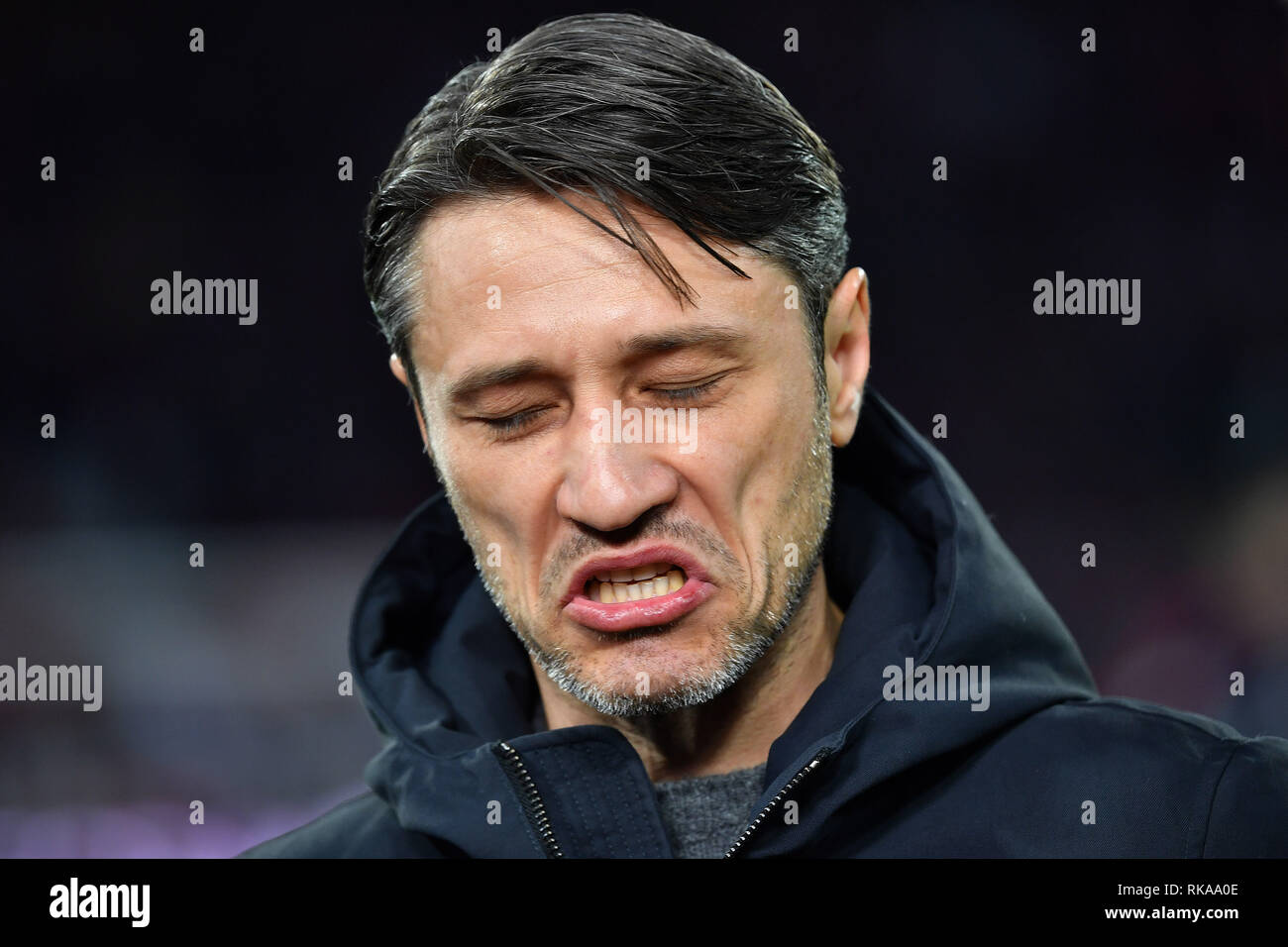 Munich, Germany. 09th Feb, 2019. Niko KOVAC (coach FC Bayern Munich), contrite, angry, anger, anger, exasperating, single image, single image, portrait, portrait, portraits. Football 1. Bundesliga, 21.matchday, matchday21, FC Bayern Munich M) - FC Schalke 04 (GE) 3-1, on 09.02.2019 in Muenchen ALLIANZARENA, DFL REGULATIONS PROHIBIT ANY USE OF PHOTOGRAPH AS IMAGE SEQUENCES AND/OR QUASI VIDEO. | usage worldwide Credit: dpa/Alamy Live News - Stock Image