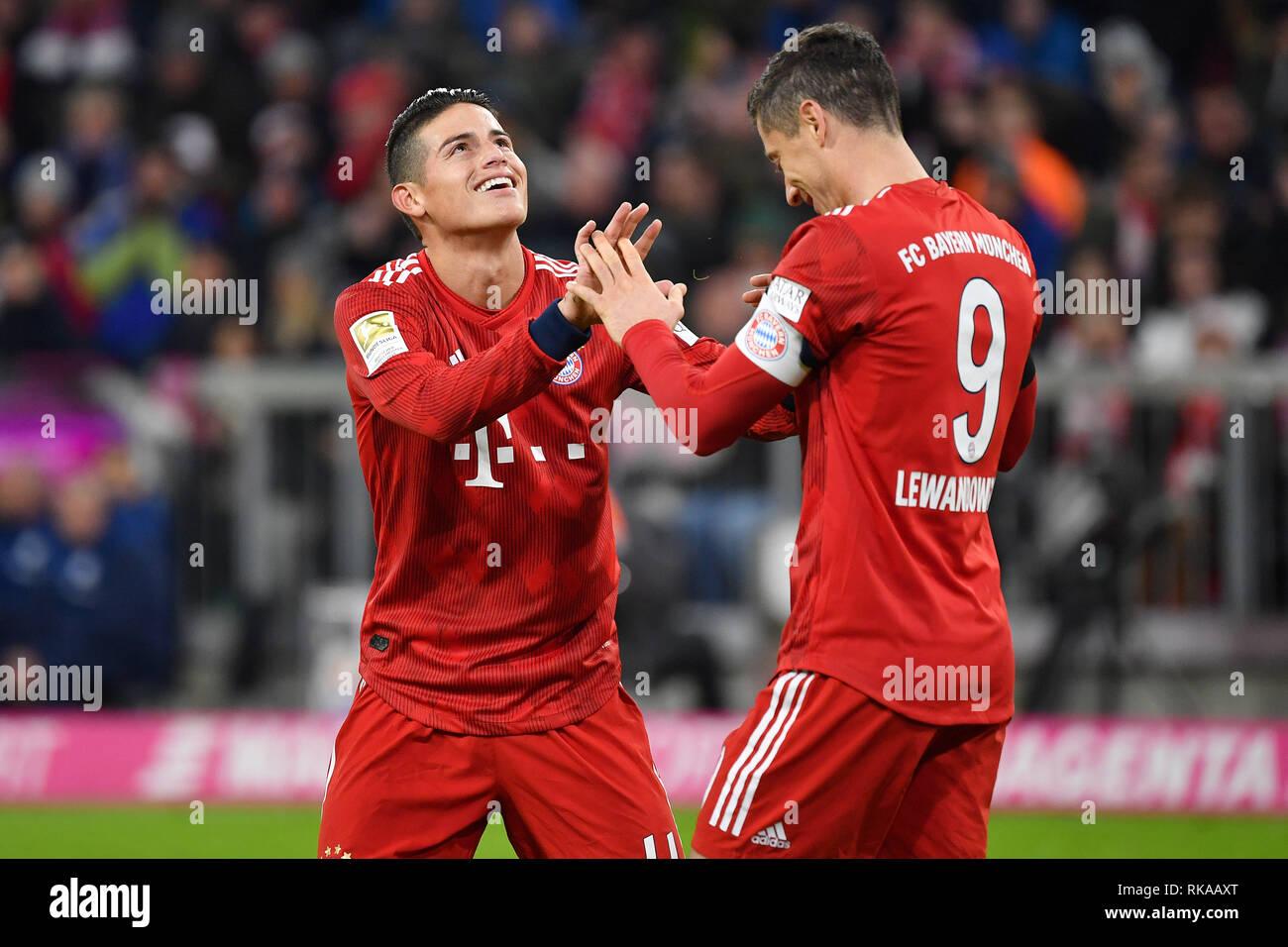 2b75e2828c5 Munich, Germany. 09th Feb, 2019. James RODRIGUEZ (Bayern Munich) with Robert  LEWANDOWSKI (Bayern Munich, re), action.
