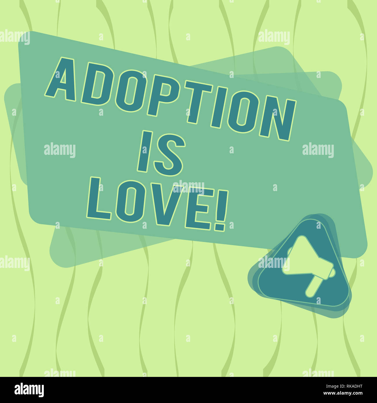 Writing note showing Adoption Is Love. Business photo showcasing action or fact of adopting or being adopted is kind Megaphone Inside Triangle and Bla - Stock Image