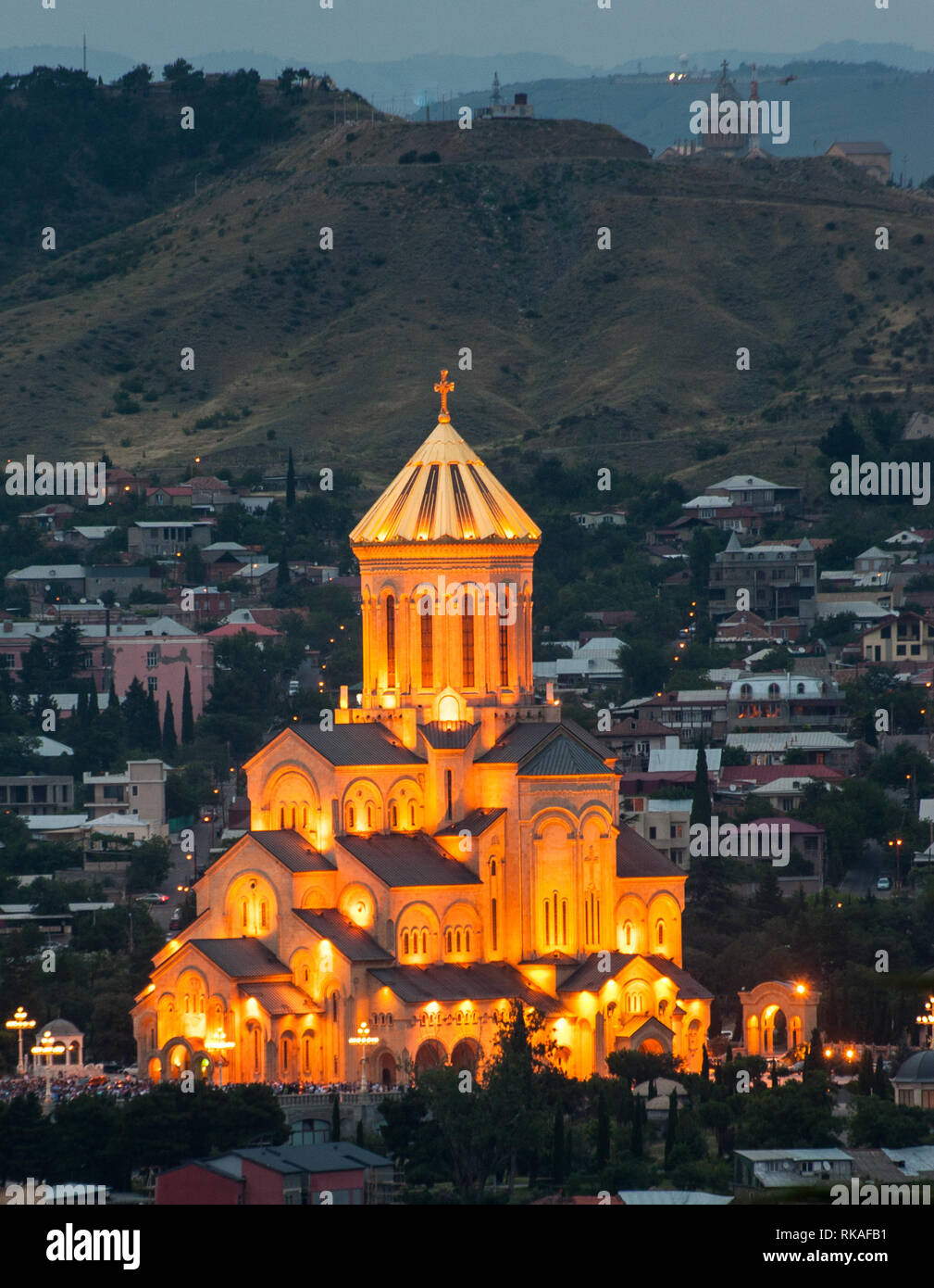 The Holy Trinity Cathedral of Tbilisi was completed in 2004 to celebrate the 2000 years since the birth of Jesus Christ and 1500 years of the Georgian - Stock Image