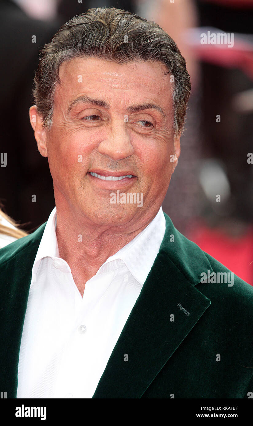 Sylvester Stallone arrives at The Expendables 3 World Premiere, Odeon, Leicester Square - Stock Image