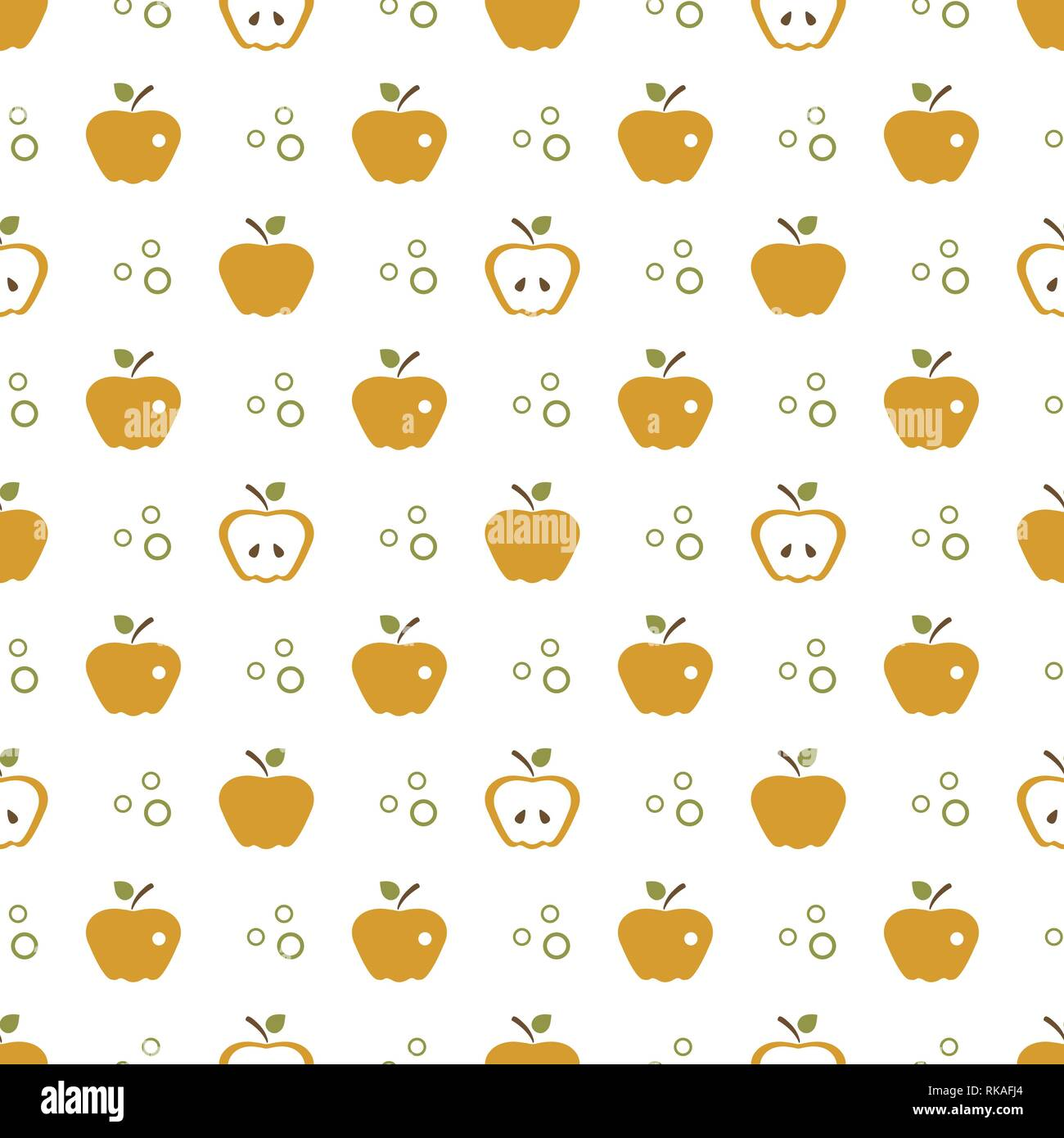 Seamless Pattern With Apples Vector Illustration Apple And Leaf Fruit Background Design