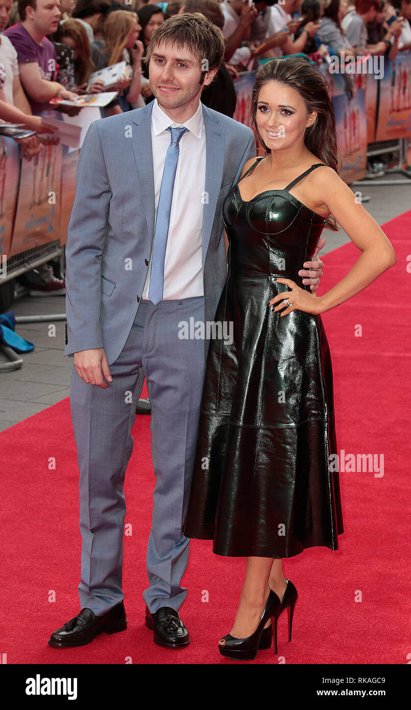 James Buckley and wife Clair Meek arrive at The Inbetweeners 2 World Premiere, Vue West End, Leicester Square Stock Photo