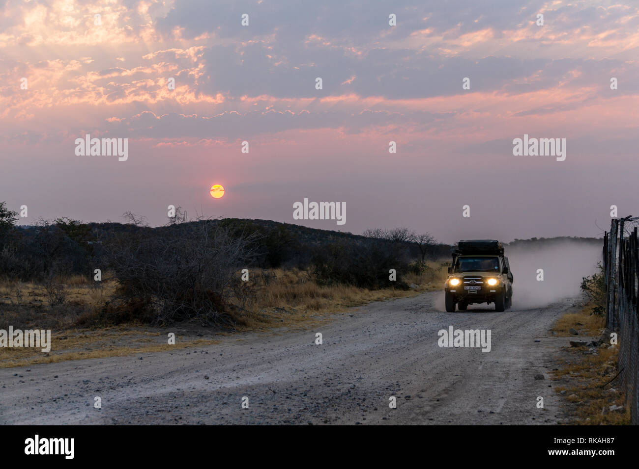 ETOSHA PAN, NAMIBIA - AUGUST 29, 2018: Driving offroad and dust clouds at African gravel road, a 4x4 track in orange purple desert landscape, Namibia, Stock Photo