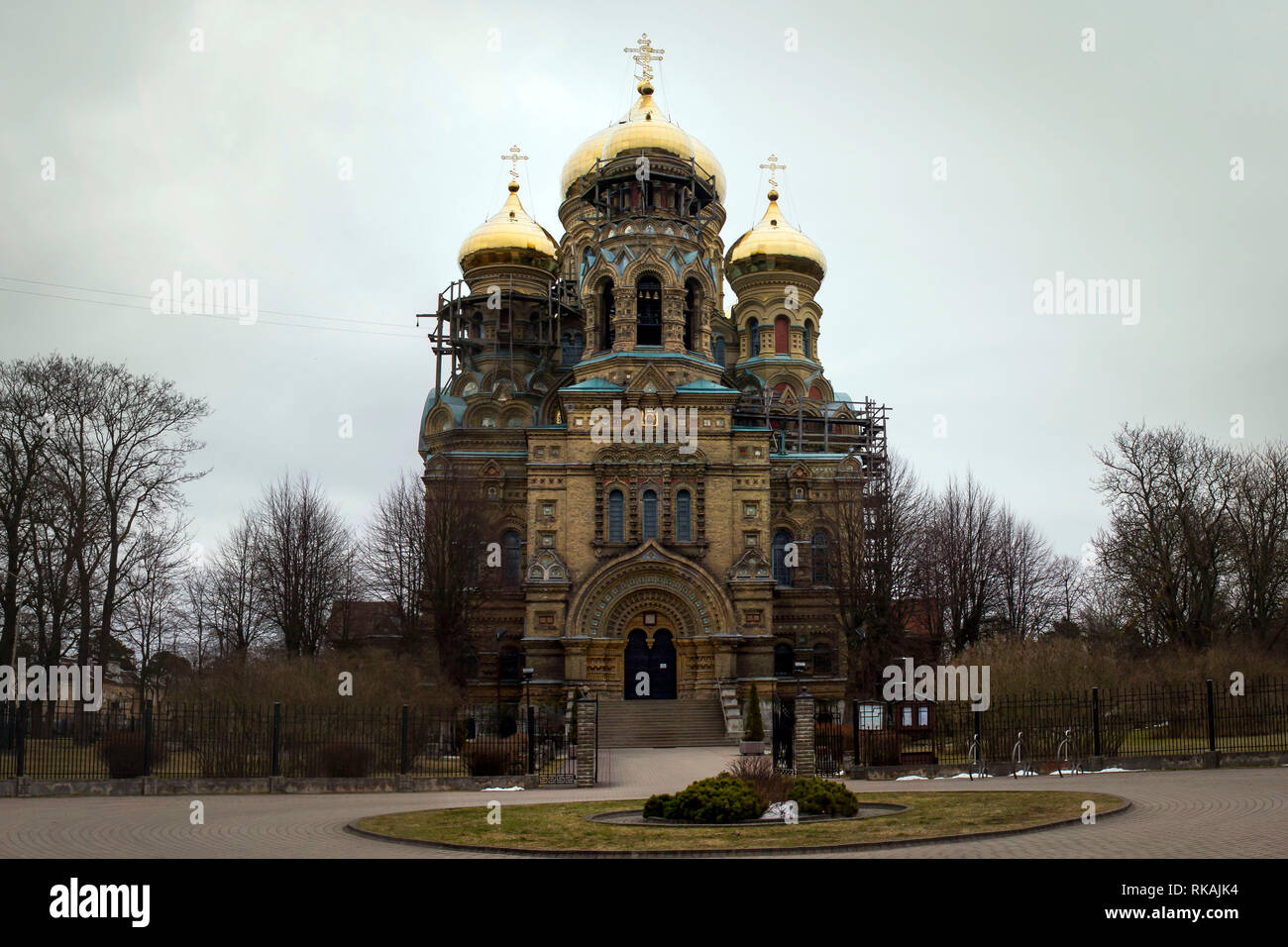 LIEPAJA, LATVIA - March, 2017: The gold domed St. Nicholas Orthodox Sea Cathedral in Liepaja's Karosta district. - Stock Image