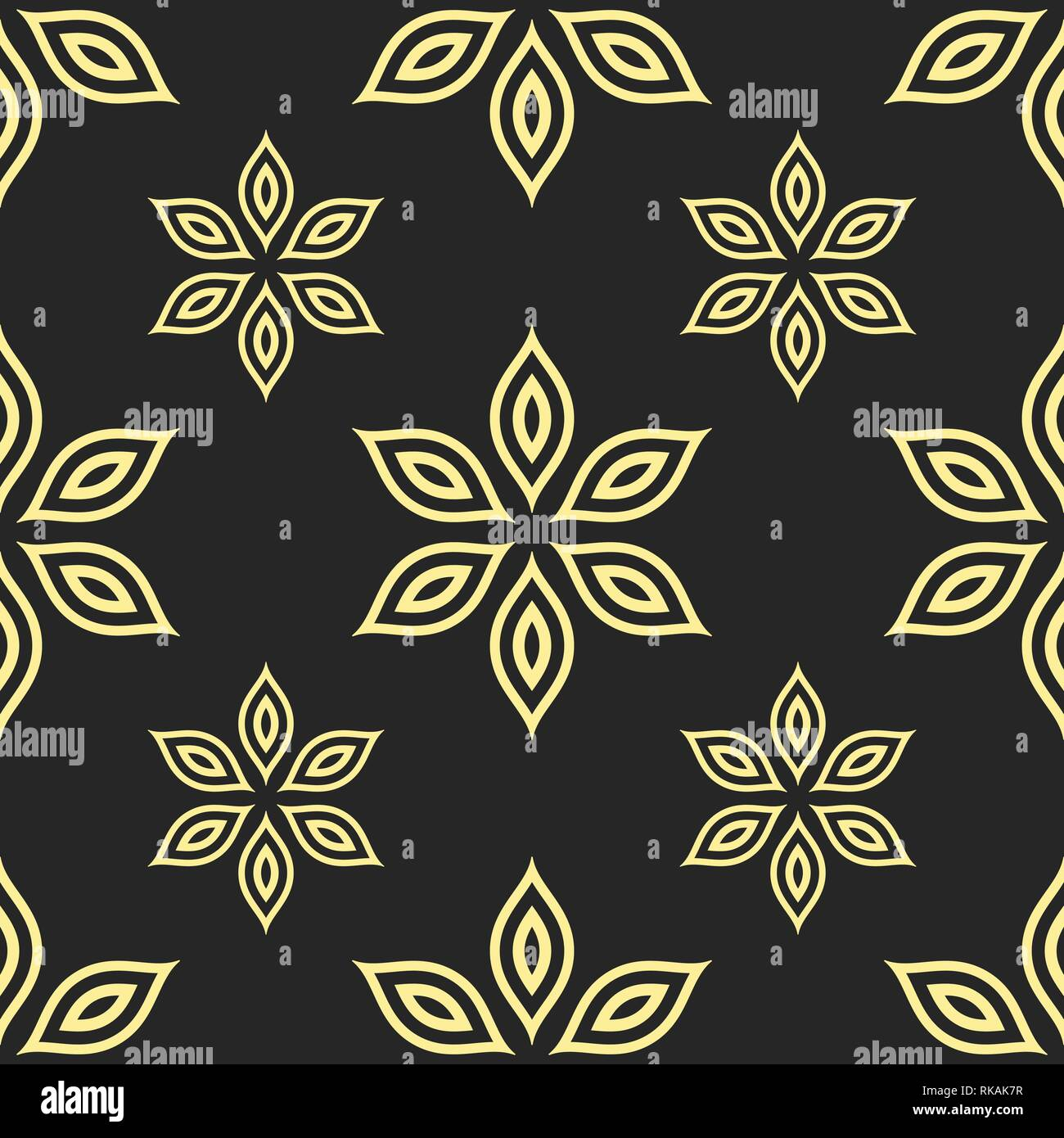 Abstract Seamless Pattern Of Flowers Geometric Floral