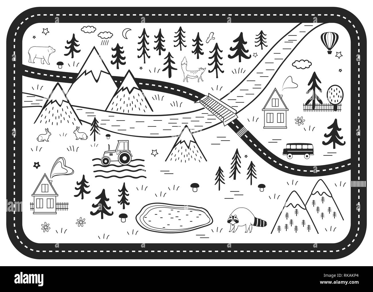Black and White Kids Road Play Mat. Vector River, Mountains and Woods Adventure Map with Houses, Wood, Field, and Animals. Scandinavian Style Art. - Stock Vector
