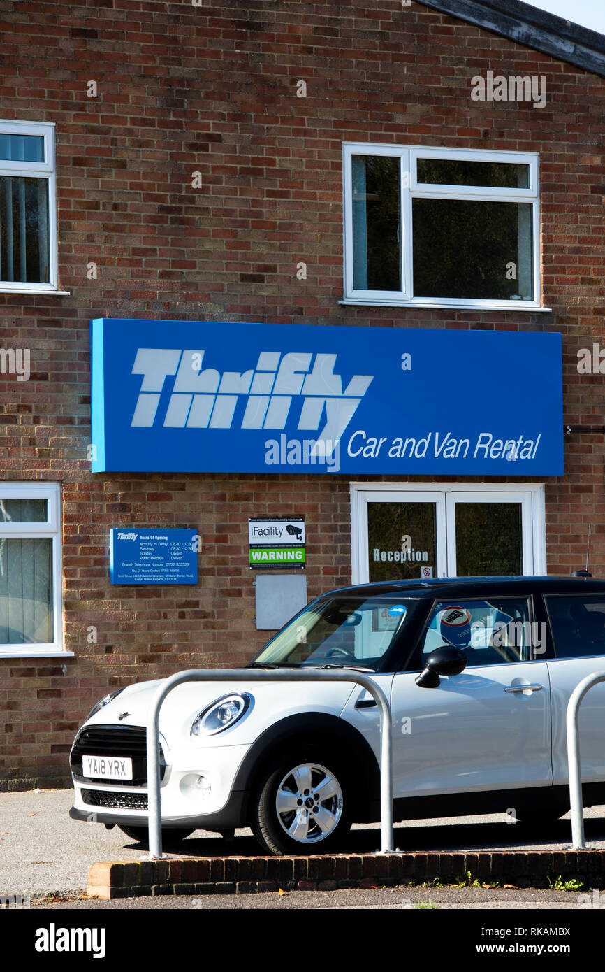 Thrifty car and van hire with over one hundred offices throughout the United Kingdom - Stock Image
