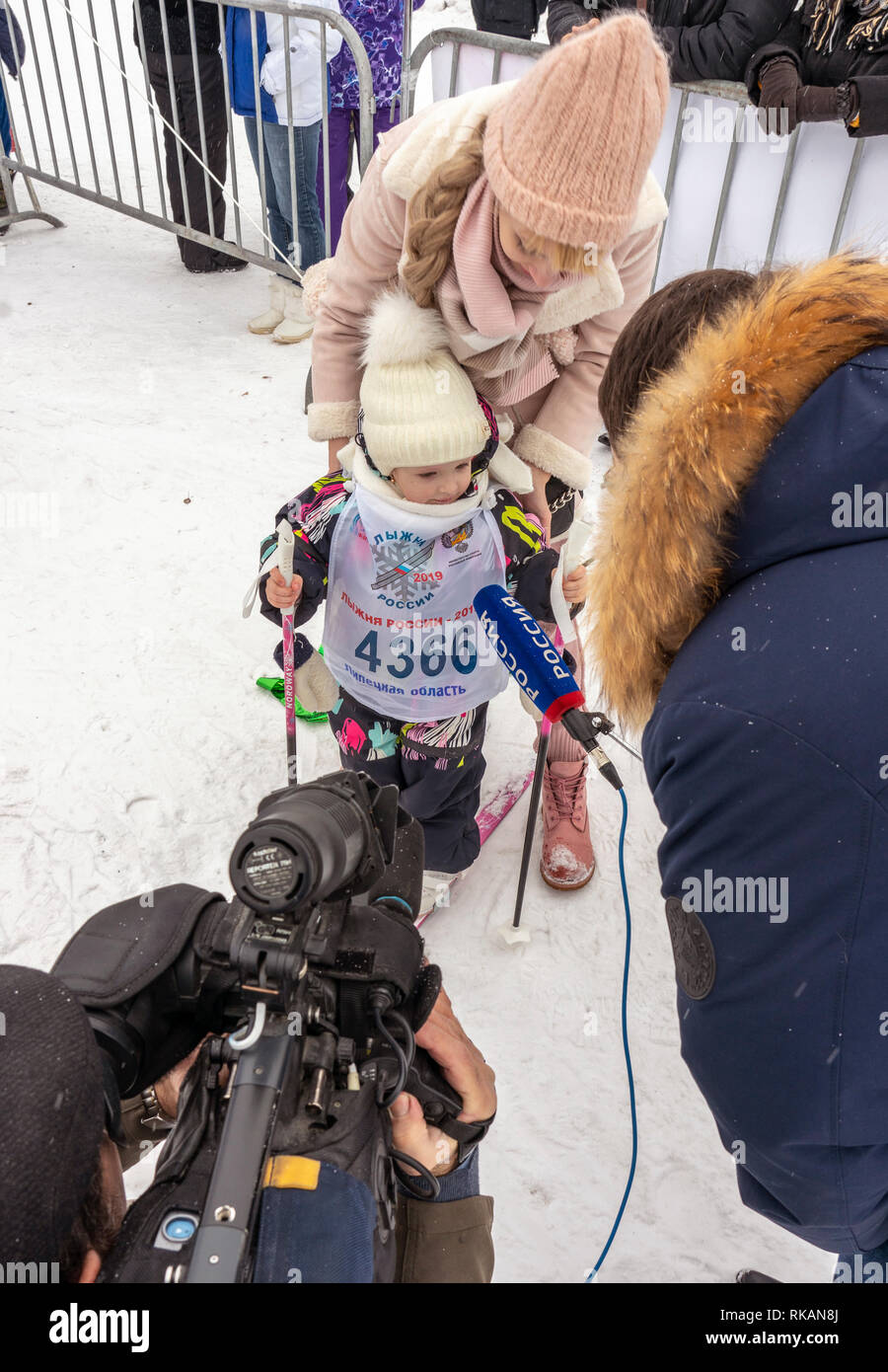 02/09/2019 Lipetsk, Russian Ski Track. Interview with the youngest participant of the ski race - Stock Image