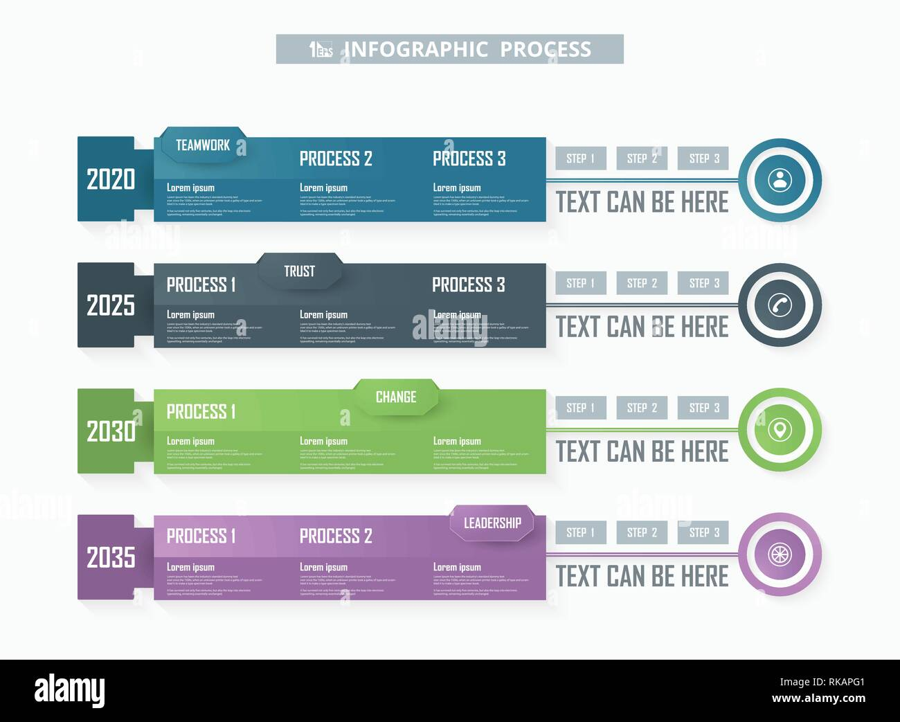 Colorful business infographic process background. You can use for adust in your business processes. Vector eps10 - Stock Image