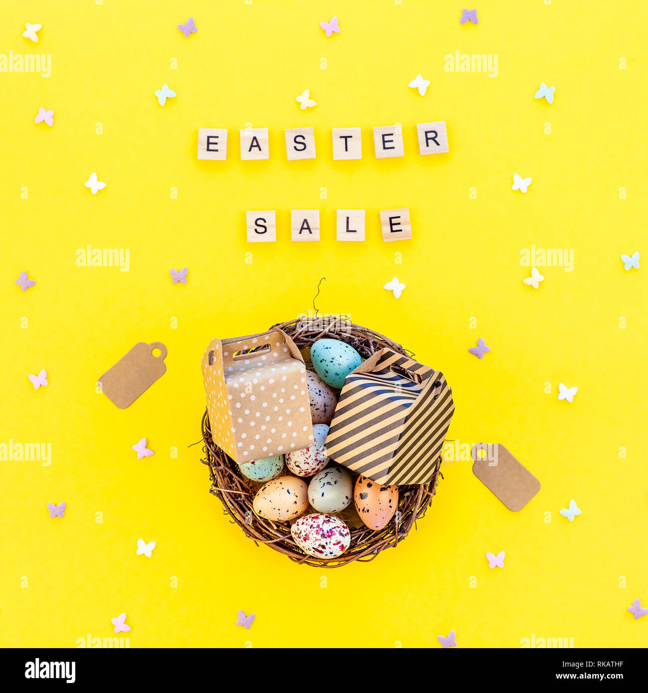 Creative Top view flat lay holiday promo composition Easter