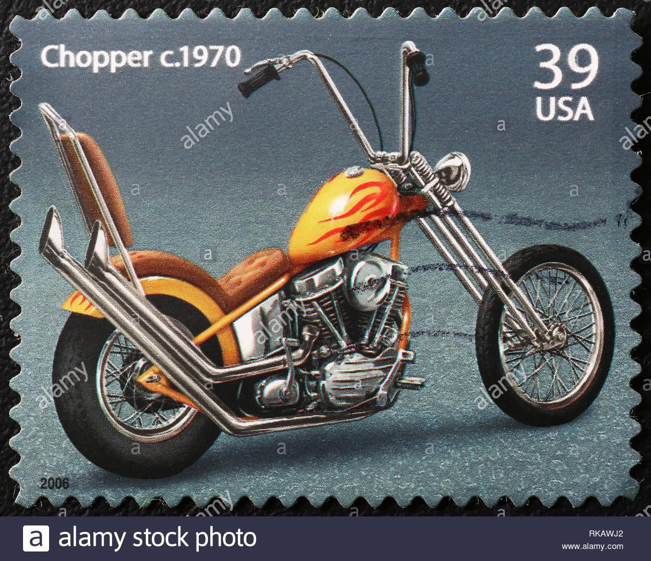 Vintage chopper on american postage stamp - Stock Image