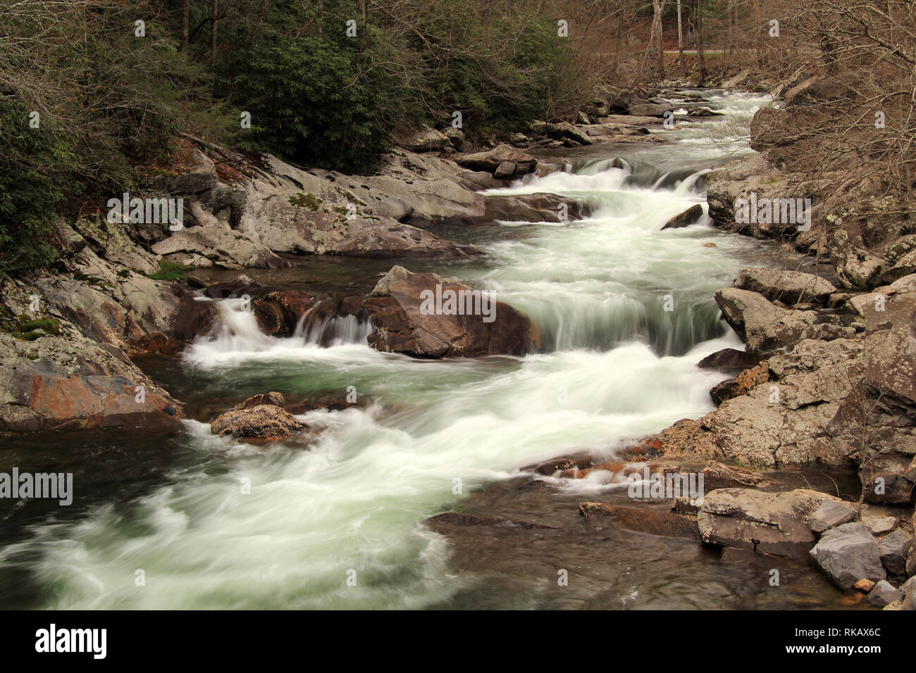 Partially located in Great Smokey Mountains National Park, the Little River offers some of the most splendid scenery in the southeastern United States Stock Photo
