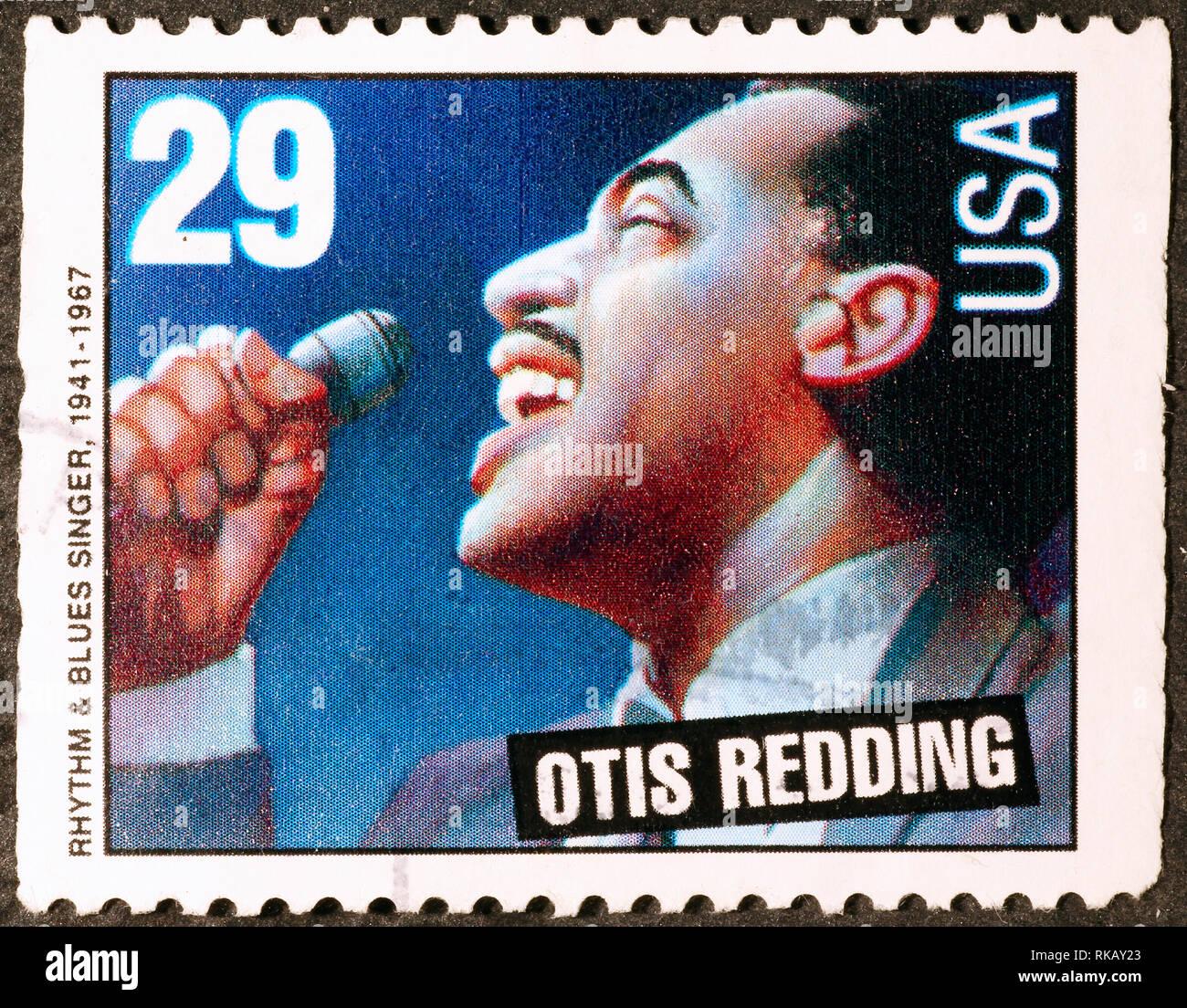 Otis Redding on american postage stamp - Stock Image